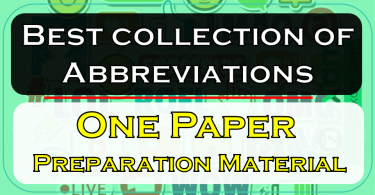 Best collection of Abbreviations , One Paper Preparation Material