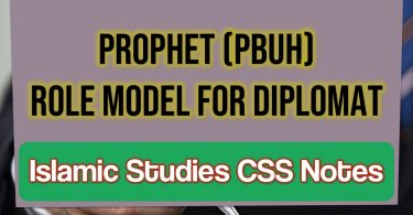 Prophet (Pbuh) As Role Model For Diplomat, Islamic Studies Css Notes Pdf
