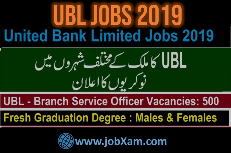 UBL Bank Jobs for Branch Service Officer BSO   UBL Jobs 2019