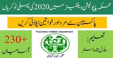 Population Welfare Department Jobs 2020 | Apply Online